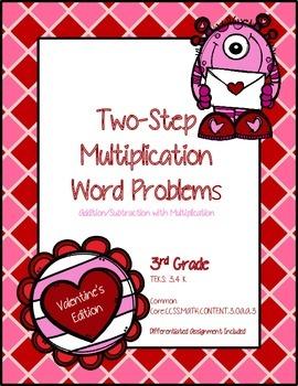 Valentine's Day Multistep Multiplication Word Problems *Freebie*