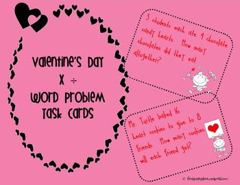 Valentines Day Multiplication and Division Task Cards