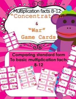 Valentine's Day Multiplication facts (8 - 12)  Concentration & War Card Games