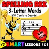 Valentines Day Music: 3 Letter Treble Clef Note Name Spelling Bee Music Activity