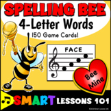 Valentines Day Music: 4 Letter Treble Clef Note Name Spelling Bee Music Activity