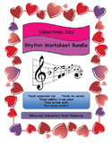 February Valentine's Day Music Rhythm & Rest Matching Worksheet Bundle