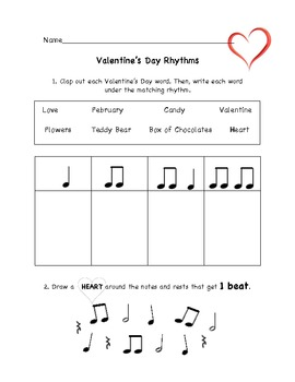picture relating to Valentine Puzzles Printable identify Valentines Working day Songs Rhythm Worksheet