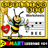 Valentines Day Music Worksheets: Treble Clef Note Name Spelling Bee Music Activi
