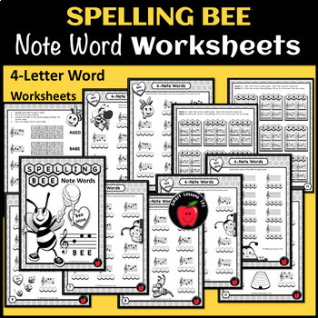Spring Music Worksheets: Treble Clef Note Name Spelling Bee Music Activities