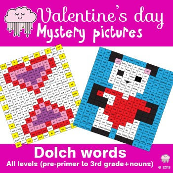 Valentine's Day Mystery Picture - Dolch Words printables (preprimer - 3rd grade)