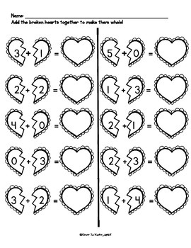 Kindergarten Valentine NO PREP Common Core Math Pack