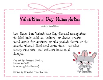 Valentine's Day Nameplates / Deskplates