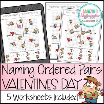 Valentine's Day Math Activity Naming Ordered Pairs Worksheet