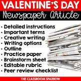 Valentine's Day Newspaper Article (writing options, template, & editable rubric)