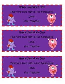 Valentine's Day No Homework Coupon ($1.00 item a month- Feb.)
