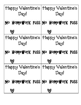 Valentine's Day- No Homework Pass