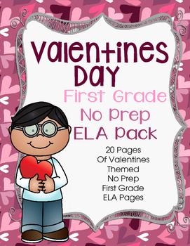 Valentines Day No Prep First Grade Literacy (ELA)