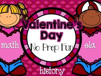 Valentine's Day No Prep Fun (ELA, Math, History) Distance Learning
