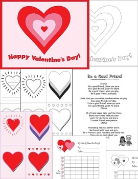 """Valentine's Day No Prep K-1 Fun--Featuring the """"Be a Good Friend"""" mp3 Song!"""