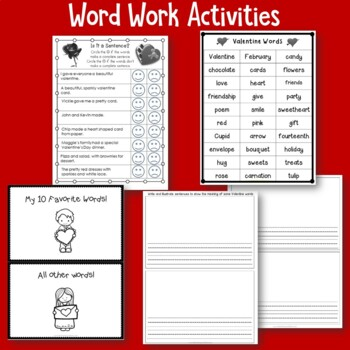Valentine's Day No Prep Printables -Literacy and Math for Grade Two