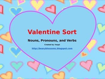 Valentine's Day Noun Pronoun Verb Sort