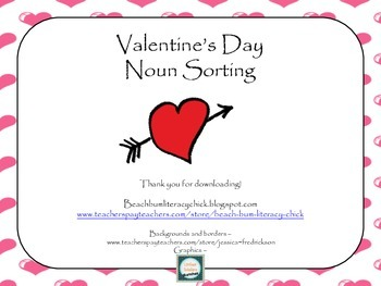 Valentine's Day Noun Sorting Activity