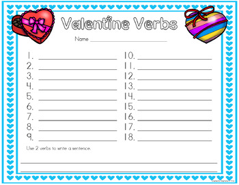 Valentine's Day Noun, Verb and Adjective Sort