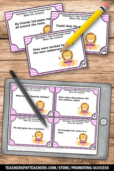 Valentines Day Activities, NOUNS Task Cards, 1st 2nd Grade Literacy Centers