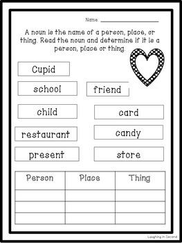Valentine's Day Nouns Worksheet