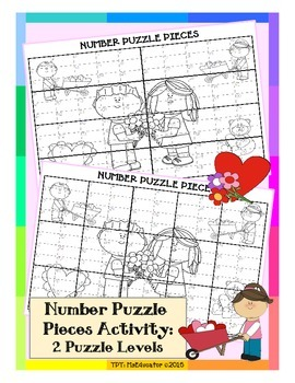 Valentine's Day - Number Puzzle Pieces EASY PREP