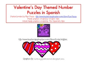 Valentine's Day Number Puzzles in Spanish