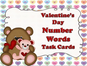 Valentine's Day Number Word Task Cards