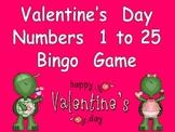 Valentines Day Numbers 1-25 Bingo Game-  Kindergarten