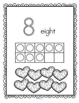 Valentine's Day Numbers and 10-Frames Coloring Book