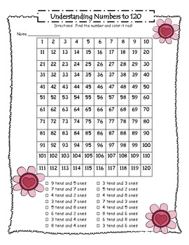 Valentine's Day Numbers To 120 Mystery Picture
