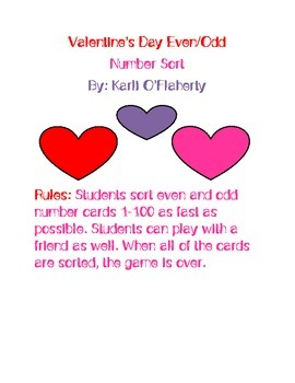 Valentine's Day Odd and Even Numbers Sort
