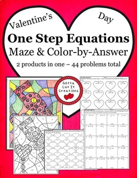 Solving Equations Valentine's Day Math One Step Equations Activity