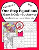 Valentine's Day Math One Step Equations Maze & Color Activity Set