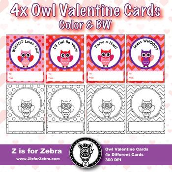 Valentine's Day Owl Cards! - Color & BW { Z is for Zebra }
