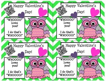 Valentine's Day Owl Cards with QR Codes