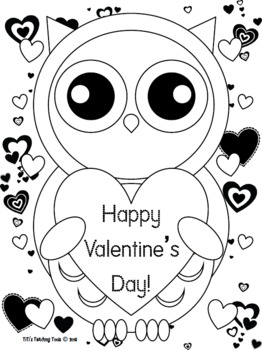 valentine coloring stationary pages | Valentine's Day Owl Coloring Page! {Valentine's Day/Owl ...