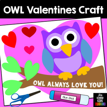 Valentines Day Owl Craft By The Kinder Kids Teachers Pay Teachers