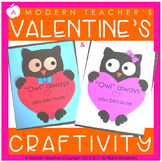 Valentine's Day Craftivity Craft and Writing Owl Always Lo