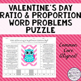 Valentine's Day Math Owl Ratio and Proportion Word Problems Puzzle