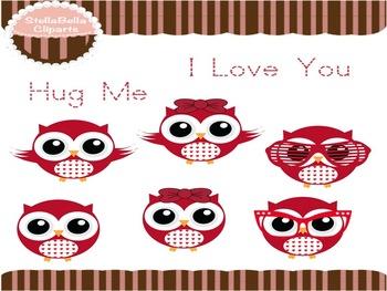 Valentine's Day Owls Clip Art