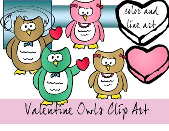 Valentines Day Owls Clip Art