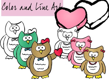 Valentines Day Owls Clip Art