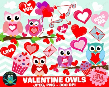 Valentines Day Owls {Upzaz Digital Clipart}