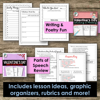 Valentine's Day Activity Bundle - Writing, Poetry, and Grammar!