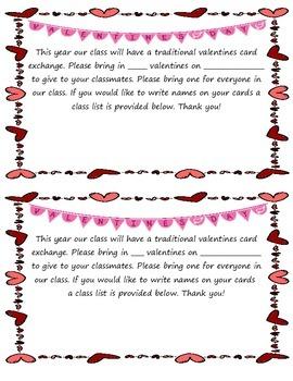Valentines Day Parent Letter