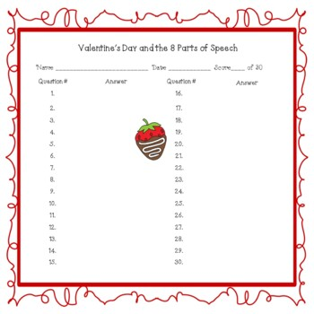 Valentine's Day and the 8 Parts of Speech English Language Arts Center Station