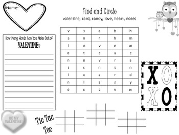 Valentine's Day Party Activity Placemat