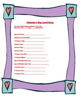 Valentines Day Party Sign Up Sheet