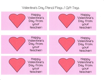 Valentine S Day Pencil Flags Gift Tags Free By No Spring Chicken
